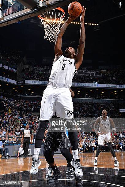 Andray Blatche of the Brooklyn Nets goes up for a shot against the Orlando Magic on April 13 2014 at the Barclays Center in Brooklyn New York NOTE TO...