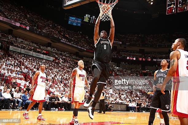 Andray Blatche of the Brooklyn Nets goes up for the dunk against the Miami Heat in Game One of the Eastern Conference Semifinals of the 2014 NBA...