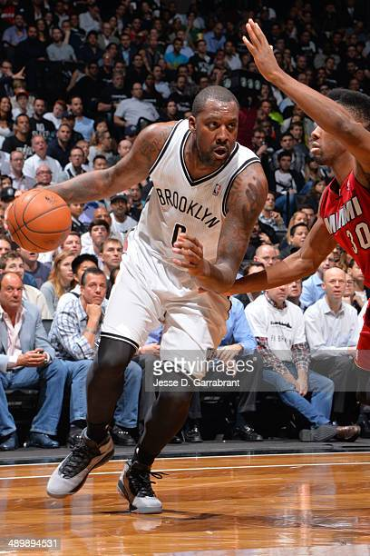 Andray Blatche of the Brooklyn Nets handles the ball against the Miami Heat in Game Four of the Eastern Conference Semifinals on May 12 2014 at...