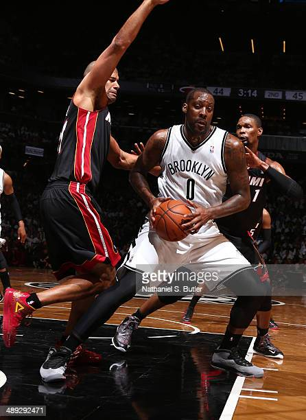 Andray Blatche of the Brooklyn Nets handles the ball against the Miami Heat during Game Three of the Eastern Conference Semifinals on May 10 2014 at...