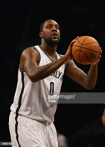 Andray Blatche of the Brooklyn Nets in action against the Boston Celtics during their game at the Barclays Center on December 10 2013 in the Brooklyn...