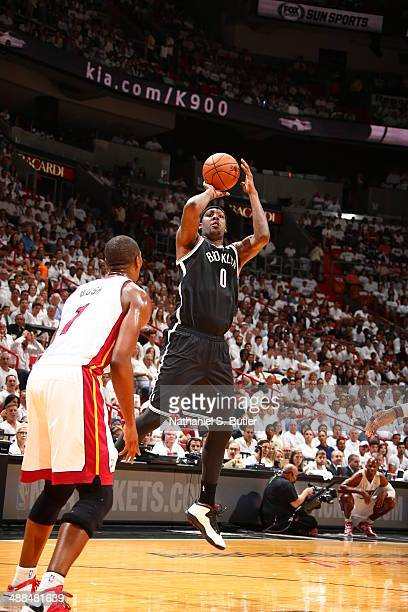 Andray Blatche of the Brooklyn Nets looks on against the Miami Heat in Game One of the Eastern Conference Semifinals of the 2014 NBA playoffs at...