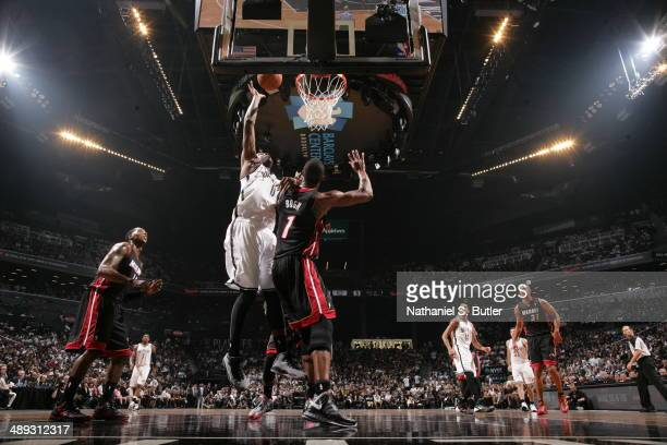 Andray Blatche of the Brooklyn Nets takes a shot against the Miami Heat during Game Three of the Eastern Conference Semifinals on May 10 2014 at...