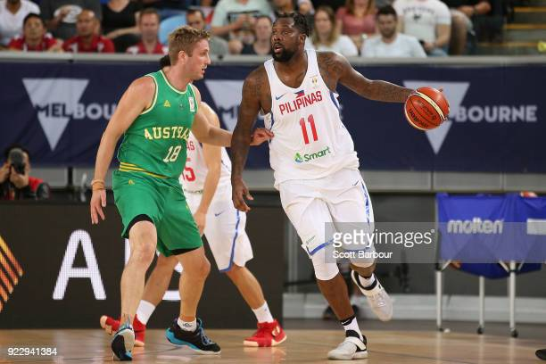 Andray Blatche of the Philippines drives to the basket during the FIBA World Cup Qualifier match between the Australian Boomers and the Philippines...