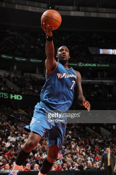 Andray Blatche of the Washington Wizards in actions during a game against the Chicago Bulls on October 8 2010 at the United Center in Chicago...