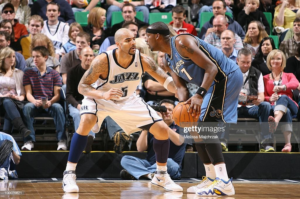 Andray Blatche #7 of the Washington Wizards looks to move the ball against Carlos Boozer #5 of the Utah Jazz during the game at EnergySolutions Arena on March 15, 2010 in Salt Lake City, Utah. The Jazz won 112-89.