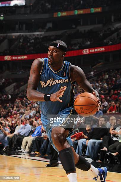 Andray Blatche of the Washington Wizards makes a drive towards the hoop during a game against the Chicago Bulls on October 8 2010 at the United...