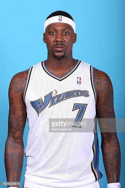 Andray Blatche of the Washington Wizards poses for a portrait during 2010 NBA Media Day at the Verizon Center on September 27 2010 in Washington DC...
