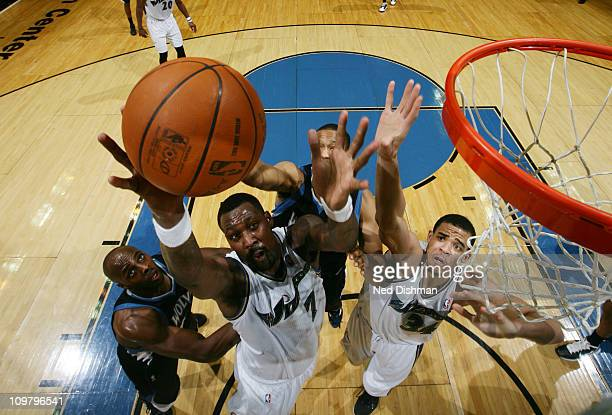 Andray Blatche of the Washington Wizards rebounds against the Minnesota Timberwolves on March 5 2011 at the Verizon Center in Washington DC NOTE TO...