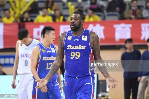 Andray Blatche of Tianjin Ronggang Gold Lions reacts during the 2018/2019 Chinese Basketball Association League 31st round match between Jiangsu...