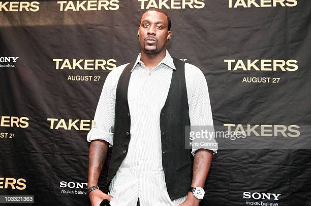 Andray Blatche poses for photographers during a screening of Takers at the AMC Georgetown on August 9 2010 in Washington DC