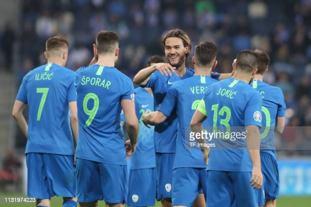 Andraz Sporar of Slovenia and Rene Krhin of Slovenia celebrate during the 2020 UEFA European Championships group G qualifying match between Israel...