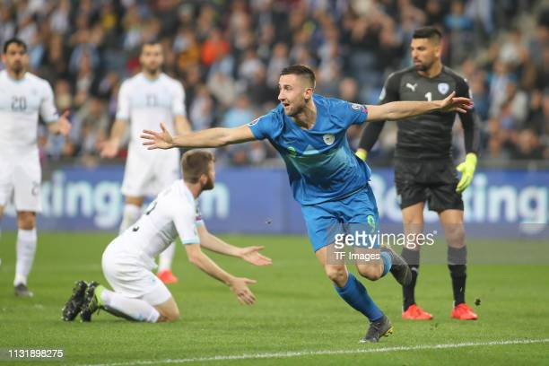 Andraz Sporar of Slovenia celebrates during the 2020 UEFA European Championships group G qualifying match between Israel and Slovenia at Itztadion...