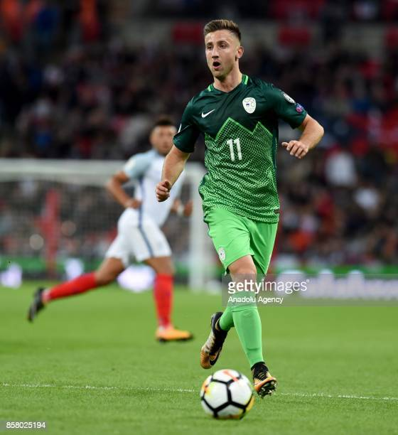 Andraz Sporar of Slovenia in action during the 2018 FIFA World Cup European Qualification football match between England and Slovenia at Wembley...