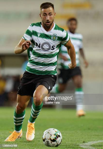Andraz Sporar of Sporting CP in action during the Friendly match between Portimonense SC and Sporting CP at Portimao Estadio on August 28, 2020 in...
