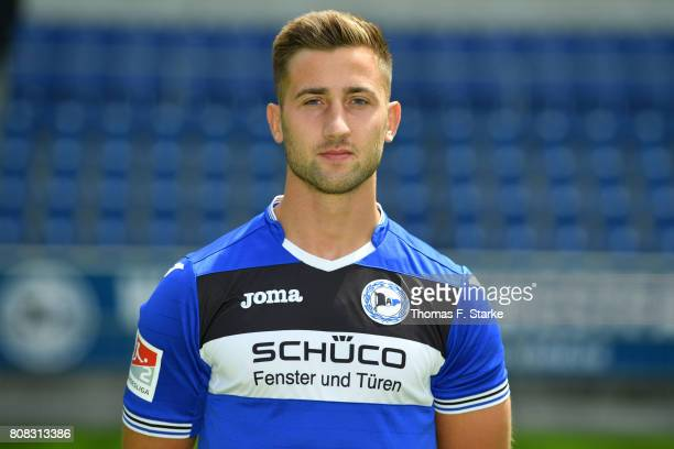 Andraz Sporar poses during the Second Bundesliga team presentation of Arminia Bielefeld at Schueco Arena on July 4 2017 in Bielefeld Germany