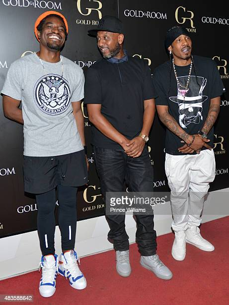 Andre 3000 Alex Gidewon and Big Gipp attend Future Album Release Party at Gold Room on July 30 2015 in Atlanta Georgia