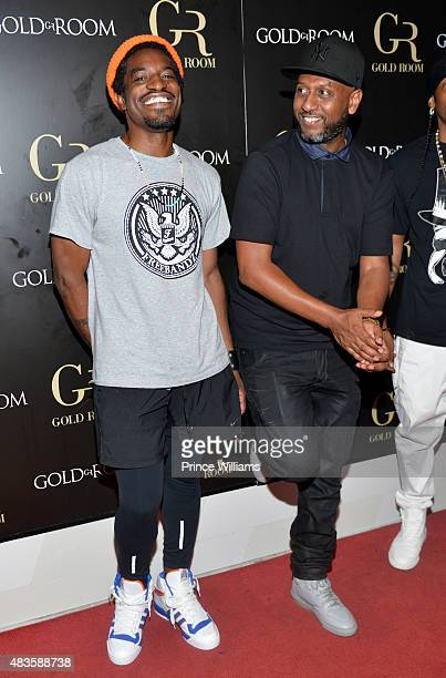 Andre 3000 and Alex Gidewon attend Future Album Release Party at Gold Room on July 30 2015 in Atlanta Georgia