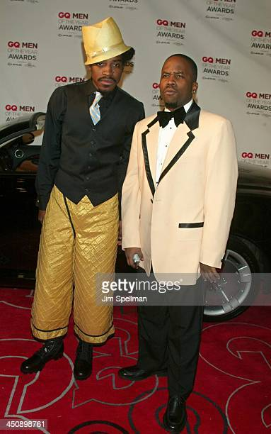 Andre 3000 and Big Boi of OutKast during 2002 GQ Men of the Year Awards Arrivals at Hammerstein Ballroom in New York City New York United States