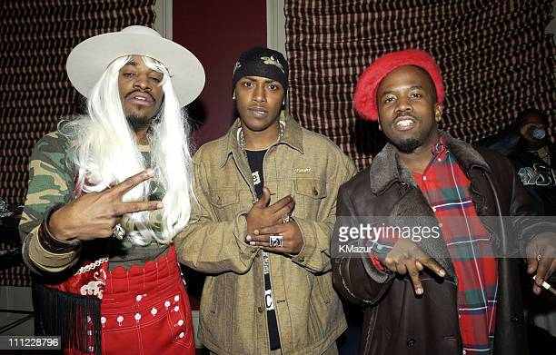 Andre 3000 and Big Boi of OutKast during MTV Mardi Gras 2002 at Jackson Square Park in New Orleans Louisiana United States