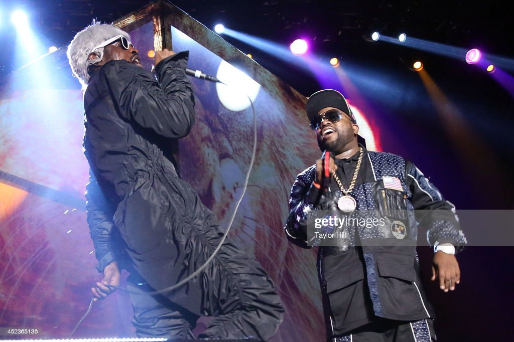 Andre 3000 and Big Boi of Outkast perform during the 2014 Forecastle Music Festival at Louisville Waterfront Park on July 18, 2014 in Louisville, Kentucky.
