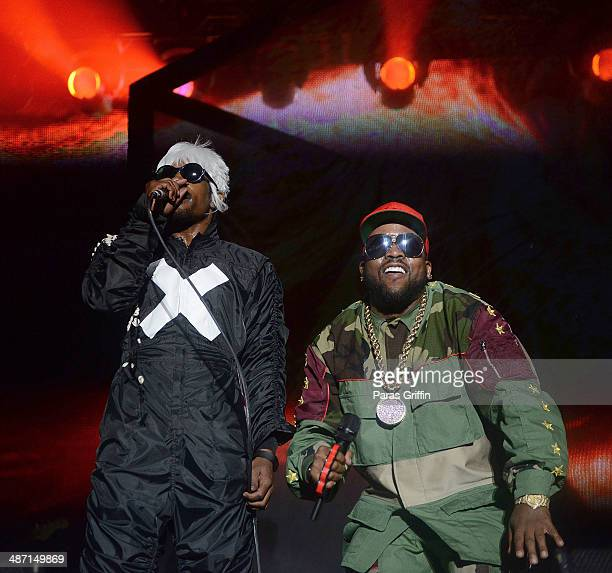 Andre 3000 and Big Boi of Outkast perform onstage during the 2014 Counterpoint Festival at Kingston Downs on April 27, 2014 in Rome, Georgia.