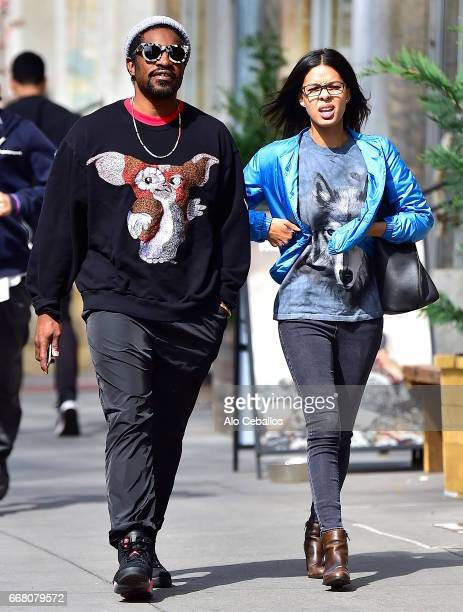 Andre 3000 and Dominique Maldonado are seen in Soho on April 13 2017 in New York City