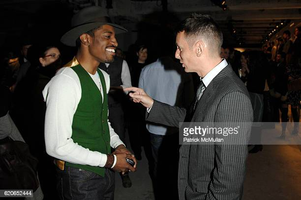 Andre 3000 and Jim Nelson attend GQ/CFDA Best New Menswear Designers Party at 620 Fifth Avenue on January 30 2008 in New York City