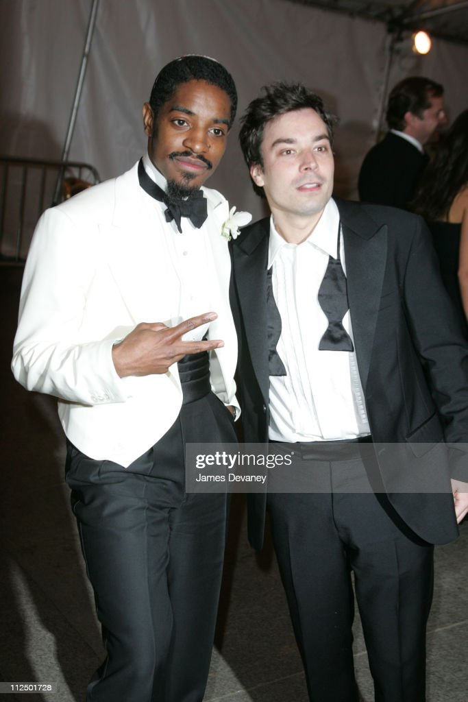 Andre 3000 and Jimmy Fallon during 'Chanel' Costume Institute Gala at The Metropolitan Museum of Art - Departures at The Metropolitan Museum of Art in New York City, New York, United States.