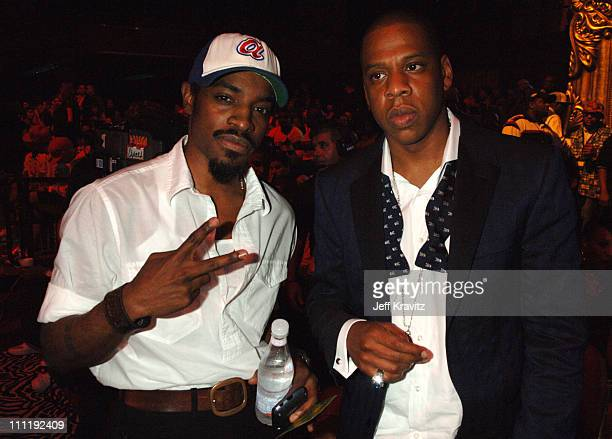 Andre 3000 and Shawn Jay Z Carter during 2006 MTV Video Music Awards Backstage at Radio City Music Hall in New York New York United States