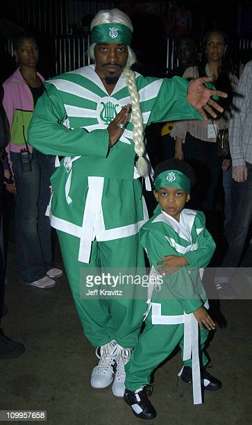 Andre 3000 and son during Nickelodeon's 17th Annual Kids' Choice Awards Backstage at Pauley Pavillion in Westwood California United States