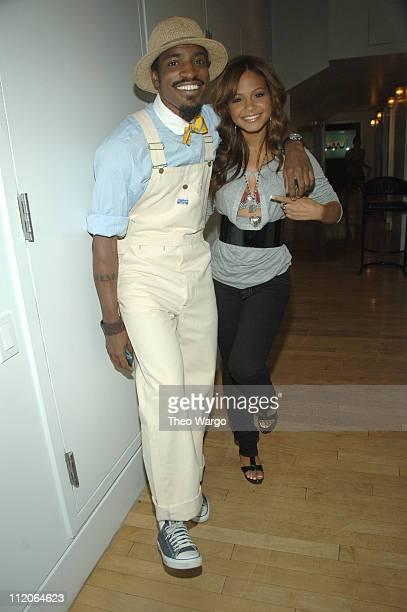 Andre '3000' Benjamin and Christina Milian during Christina Milian Andre '3000' Benjamin and Cassie Visit MTV's 'TRL' Studios at MTV Studios in New...