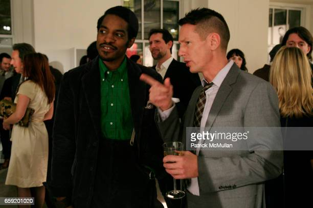Andre 3000 Benjamin and Jim Nelson attend GQ/CFDA Honor Second Annual Best New Menswear Designer in America Finalists at Rockefeller Center on...