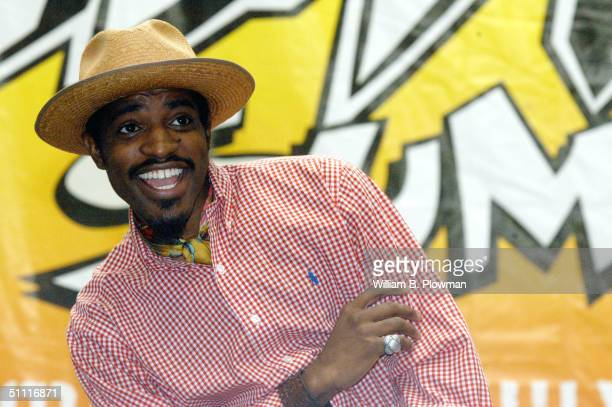 Andre 3000, lead singer of the rap group Outkast, addresses the audience during a Boston Hip-Hop Summit youth voter registration event at the Reggie...