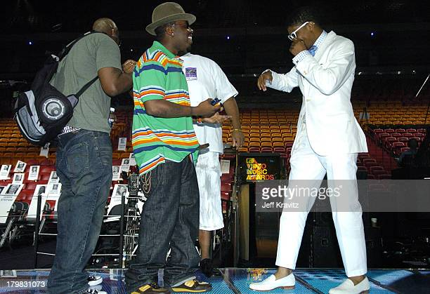 Andre 3000 of OutKast and Fonzworth Bentley during 2004 MTV Video Music Awards Rehearsals Day 2 at American Airlines Arena in Miami Florida United...