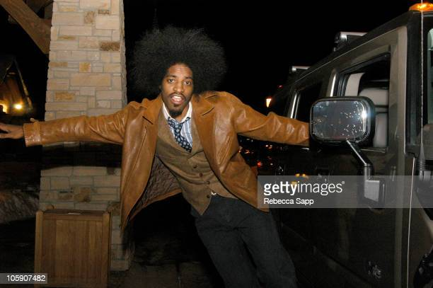 Andre 3000 of Outkast hangs out in the Hummer H2 GM is in park city to provide luxury transportation to Hollywood's elite
