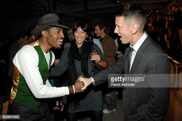Andre 3000 Pearl Lee and Jim Nelson attend GQ/CFDA 'Best New Menswear Designers' Party at 620 Fifth Avenue on January 30 2008 in New York City