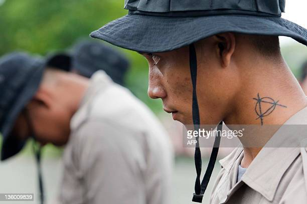 Andre a detained Indonesian punk sporting a tattoo on his neck and wearing a police uniforms undergoes 'moral rehabilitation' under the supervision...