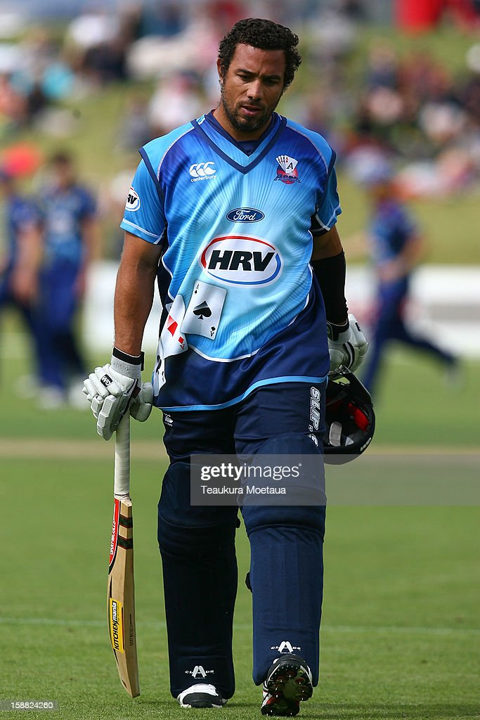Andre Adams of Auckland is dejected after being caught during the Twenty20 match between Otago and Auckland at Queenstown Events Centre on December 31, 2012 in Queenstown, New Zealand.