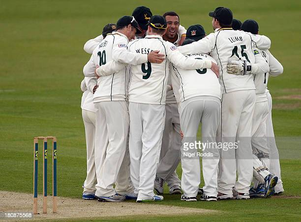 Andre Adams of Nottinghamshire celebrates with teamates after taking the wicket of Will Smith of Durham during day one of the LV County Championship...