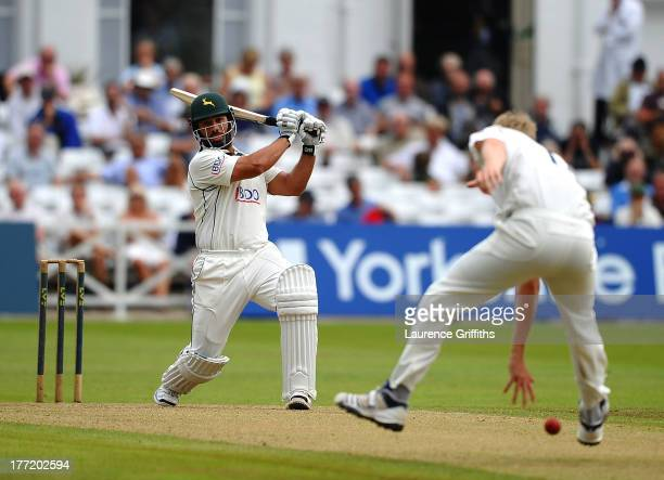 Andre Adams of Nottinghamshire smashes a boundary during day two of the LV County Championship division one match between Nottinghamshire and...