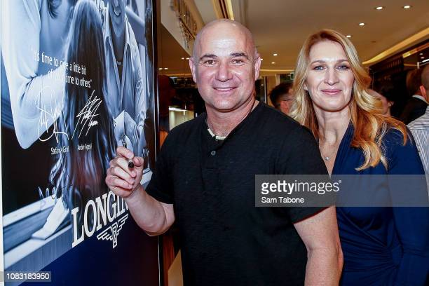 Andre Agassi and Steffi Graf attends the Longines Melbourne Boutique Launch on January 16 2019 in Melbourne Australia