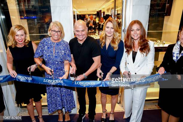 Andre Agassi and Steffi Graff attends the Longines Melbourne Boutique Launch on January 16 2019 in Melbourne Australia