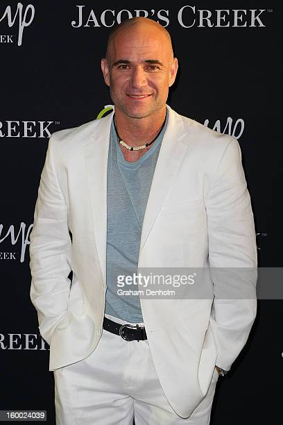 Andre Agassi arrives at the screening of the Jacob's Creek Open Film Series 2 at Maia Docklands on January 25 2013 in Melbourne Australia