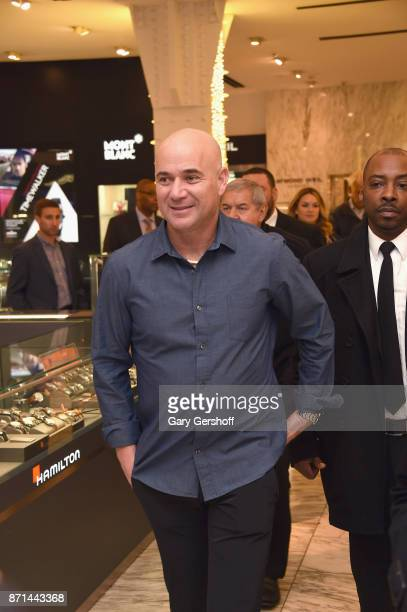 Andre Agassi arrives to the launch of Longines Master Collection Watch event at Macy's Herald Square on November 7 2017 in New York City