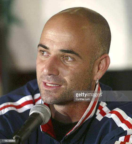 Andre Agassi at the Davis Cup Draw at the Home Depot Center in Carson CA on March 3 2005