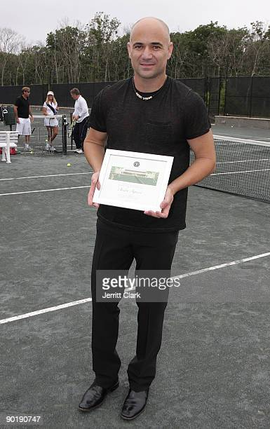 1105a80e28 Andre Agassi attends the Grand Slam Winners Tennis Exhibition Match at the Ross  School Tennis Center
