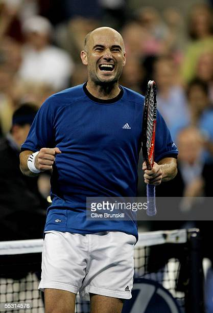 Andre Agassi celebrates after defeating James Blake in the quarterfinals of the US Open at the USTA National Tennis Center in Flushing Meadows Corona...