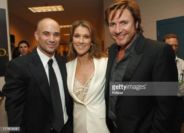 Andre Agassi Celine Dion and Simon Le Bon during The Andre Agassi Charitable Foundation's 10th Annual 'Grand Slam for Children' Fundraiser Backstage...