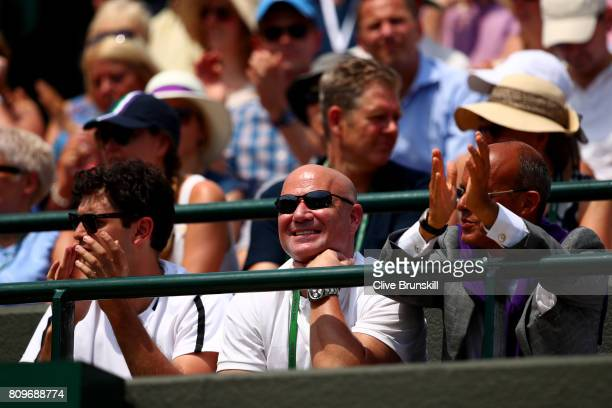 Andre Agassi coach of Novak Djokovic looks during his Gentlemen's Singles second round match against Adam Pavlasek of the Czech Republic on day four...